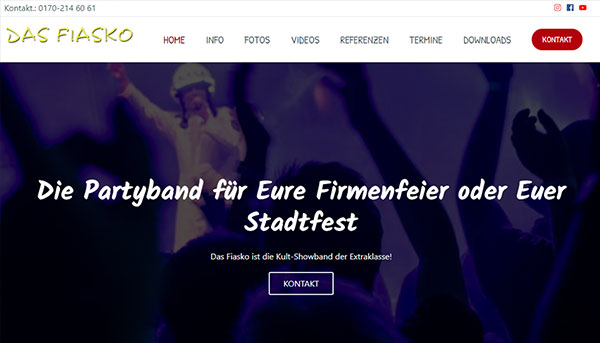 Referenzen, Website Partyband Das Fiasko